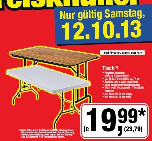 [Metro] Tisch klappbar in braun o. weiß für 23,79€ nur am 12.10.13