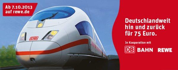 DB Deutsche Bahn REWE-Ticket - Hin- und Rückfahrt 75 Euro inkl. Sitzplatz