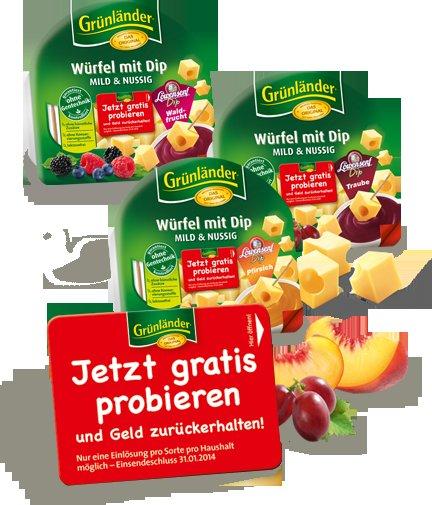 3 Sorten Grünländer Würfel mit Dip gratis testen - Geld-zurück-Aktion
