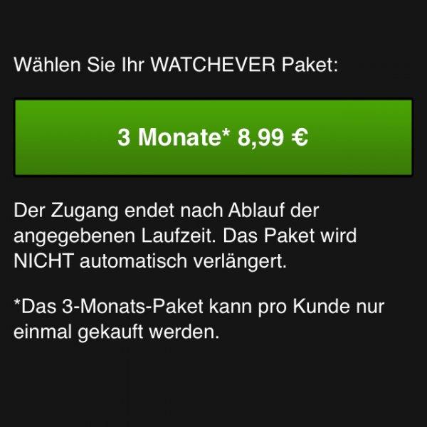 (ONLINE APP) Watchever 3 Monate 8,99€