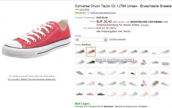 Converse Chucks 20,42 € Amazon z.B. Gr. 46 rot/red