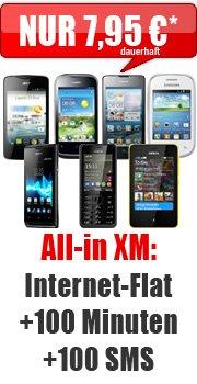 Gratis Handy + 100Min + 100SMS + InternetFlat nur 7,95€ mtl