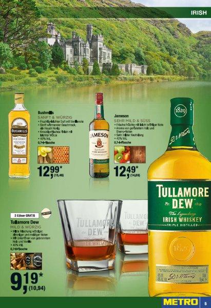 Tullamore Dew 0,7L mit 2 Gläsern (Metro)