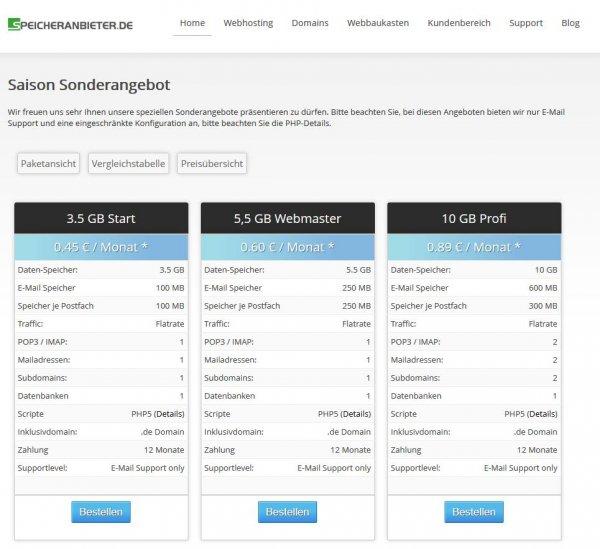 Speicheranbieter.de Domain + 3,5GB Speicher inkl. PHP und Datenbank für 45 Cent