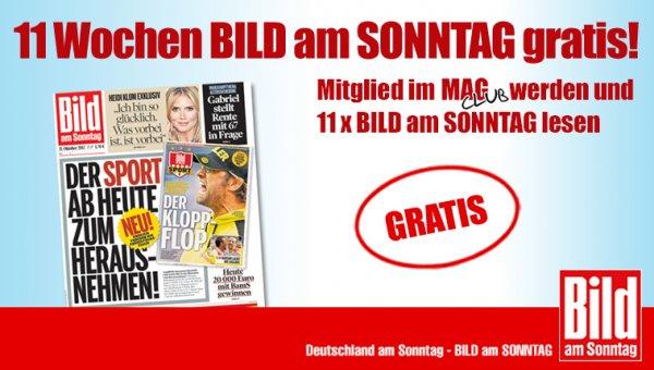 """Wieder mal 11 Ausgaben der """"Bild am Sonntag"""" umsonst"""