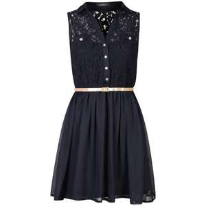 Women's Lace Front Belted Shirt Dress - Navy für 16,50€ @TheHut