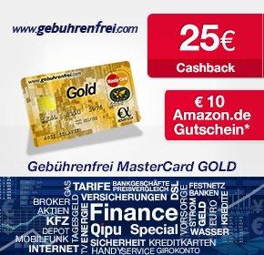Prämien Höchststand! Gebührenfrei MasterCard Gold: 10€ Amazon.de-Gutschein+ 25€ Cashback von Qipu