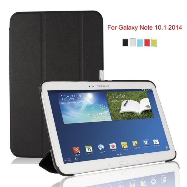 IVSO Slim Smart-Cover Leder Hülle Case Folio Tasche Cover für Samsung Galaxy Note 10.1 2014 Edition/ Version (Für Samsung Galaxy Note 10.1 2014, Schwarz II)
