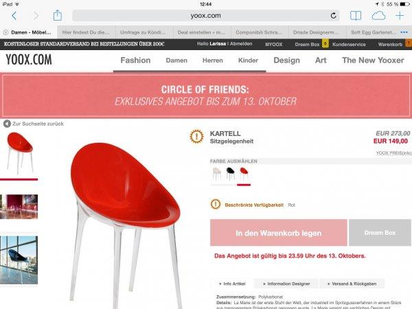 Designer Möbel Schnäppchen, zb Kartell Componibili 4966 für 58€ oder der Stuhl  Mr. Impossible für  149€
