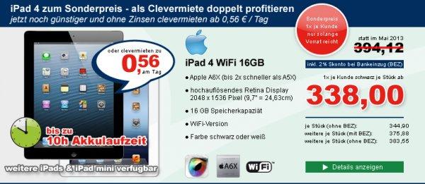 Apple iPad 4, 16GB ohne 4G in schwarz (nur Gewerbetreibende)