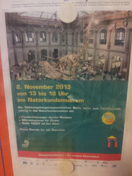 Freier Eintritt ins Naturkundemuseum Berlin am 02.11.2013 von 13.00 bis 18:00 Uhr