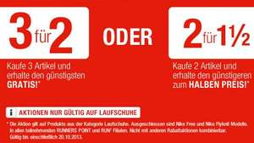 RunnersPoint: 3 für 2 und 2 für 1 1/2 in der Kategorie Laufschuhe
