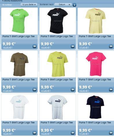 T-Shirt's von Puma für 9.99 Euro