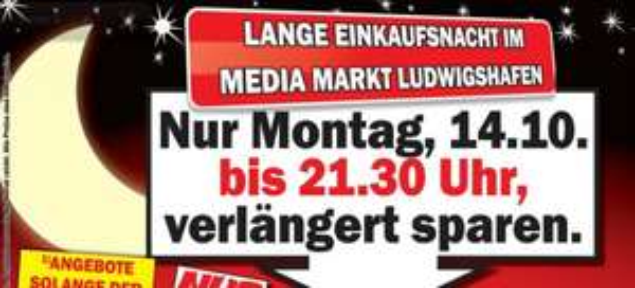 Lange Einkaufsnacht MediaMarkt Ludwigshafen: LG 55LA6678 für 999€ + 4 3D-Brillen/ Sony KDL-50W656 für 699€/ Sony KDL-55W805A für 1199€/ Nintendo DSi für 88€