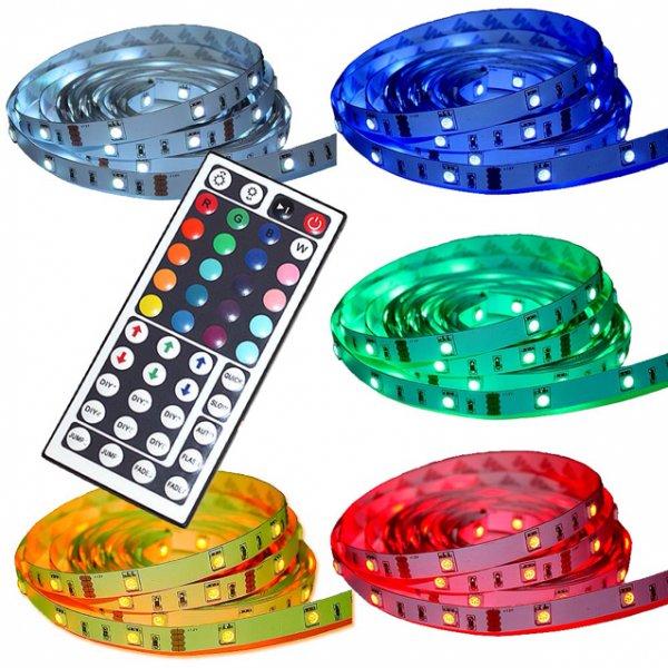 5M LED RGB Streifen STRIP 44 Keys Controller Fernbedienung Netzteil 5050 SMD WOW