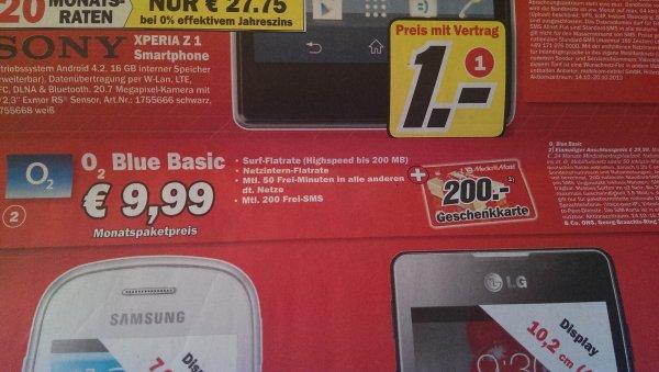 [Lokal] Mediamarkt Berlin/Brandenburg Original o2 Blue Basic + 200 Euro Mediamarktgutschein