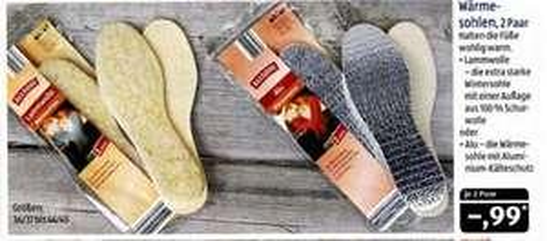 Wärmesohlen bei Aldi SÜD 2 Paar für 0,99 € mit Lammfell oder Aluminium-Kälteschutz