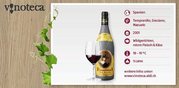 [LOKAL CH] ALDI SUISSE Faustino I 2001 Gran Reserva Rioja 14.95 CHF