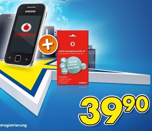 Samsung Galaxy Y (grau) + Vodafone CallYa Smartphone FUN 15,VF Simlock,für 39,90€!
