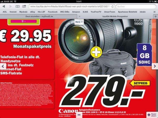 Canon EOS 1100D+Canon Tasche+8GB SD @ MediaMarkt Düsseldorf-Metro [ws. lokal]