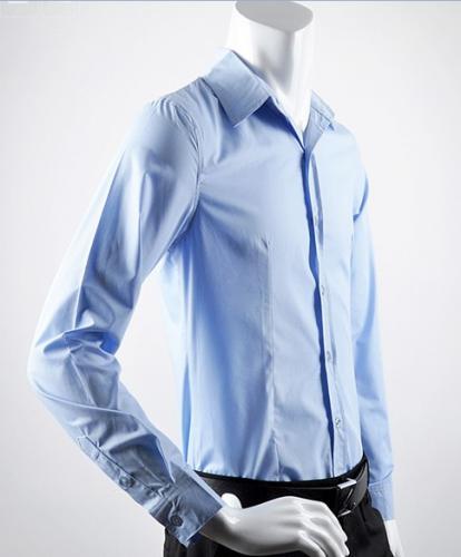 Slim Reverskragen Buttons Shirts Blue