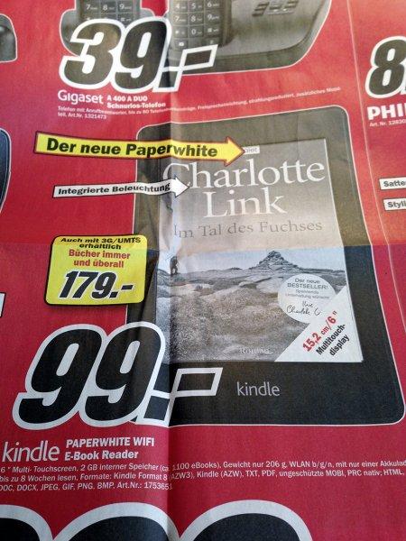 [Lokal Hamburg und Umgebung] Neuer Kindle Paperwhite für 99 Euro im Media Markt