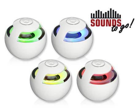 SOUNDS - to go! Bluetooth Lautsprecher Weiß oder Schwarz mit LED-Effekt
