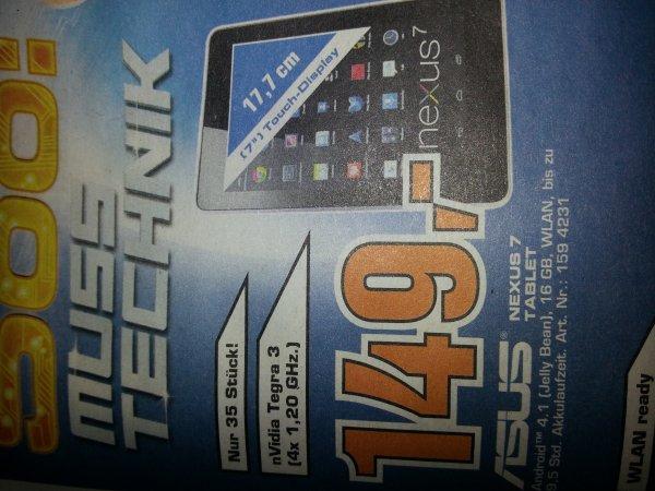 Saturn Kaiserslautern (lokal) Asus  Nexus 7. Mit nVidia Tegra3