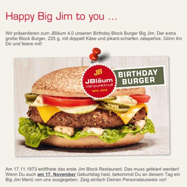 [Lokal Hamburg/Hannover] Jim Block gratis Burger Menü am 17.11 für alle geburtstagskinder