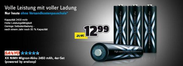 Eneloop NiMH Mignon-Akku 2450 mAh  12,99€ inkl Versand  Nur Heute