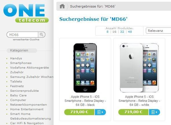 Apple iPhone 5 - 64 GB - weiß + schwarz - je 719,00 EUR
