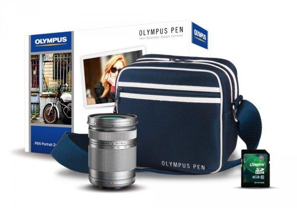 Olympus Pen Portrait Zoom Kit Tasche 8GB Karte und 40-150mm Objektiv in silber