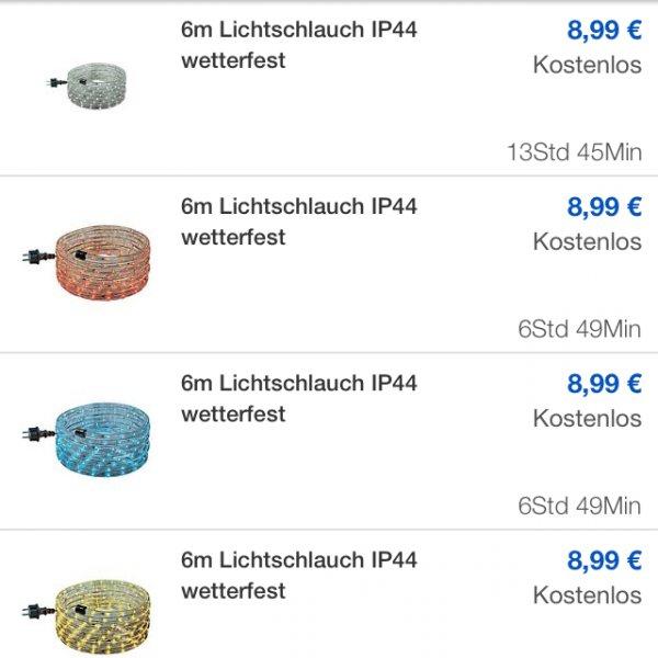 Ebay wow Lichtschlauch 6m div. Farben 9€ incl. VSK