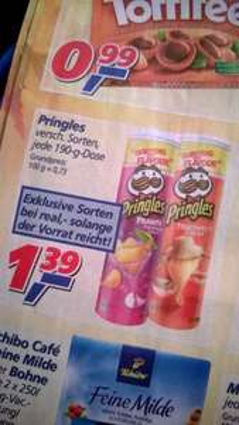 """[offline] UK-Pringles """"Prawn Cocktail"""" & """"Thai Sweet Chilli"""" für 1,39€ Deutschland-exklusiv @ real,-"""