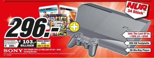 [Media Markt K`Lautern] Playstation 3 500GB + GTA5 + FIFA 14 + The Last of Us