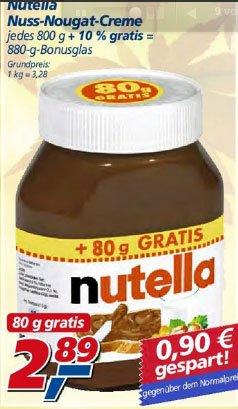 real [bundesweit] Nutella 880g (800g + 10%) Glas
