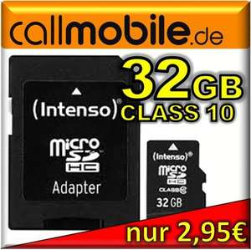 callmobile SIM-Karte + 32GB Intenso microSDHC Class10 Speicherkarte
