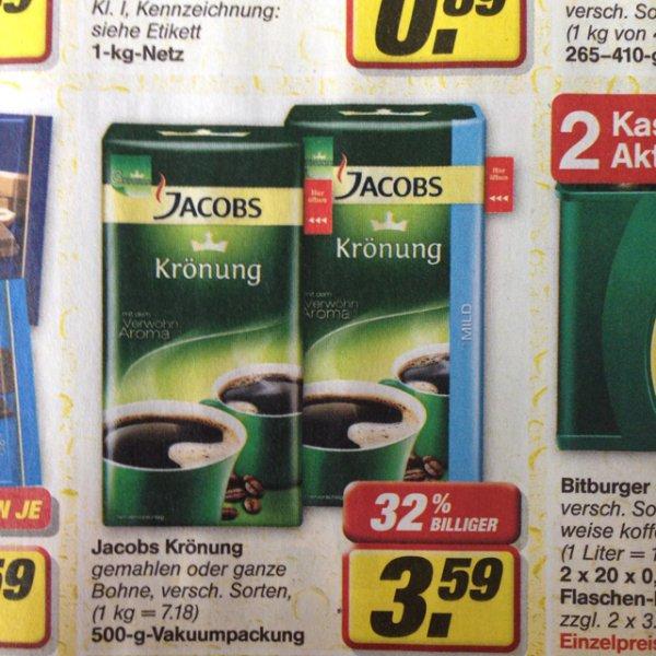 [offline] Jacobs Krönung verschiedene Sorten je 500g Packung bei toom