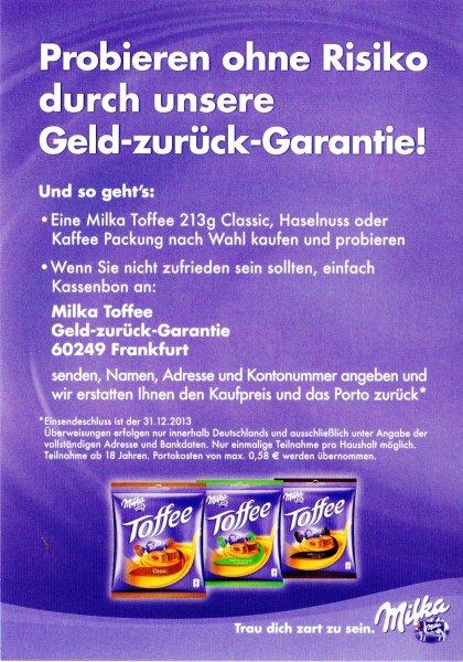 Milka Toffee umsonst durch Geld-zurück-Garantie