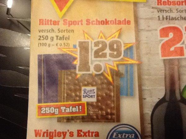 Ritter Sport 250g Schokotafel für 1,29€ @ TrinkGut