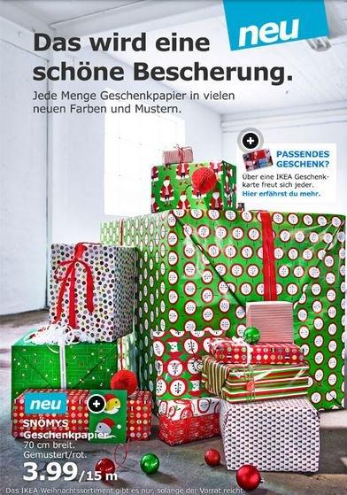 IKEA OFFLINE 15 Meter Geschenkpapier Weihnachten, 70 cm Breite