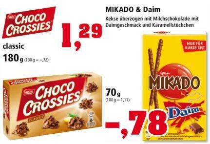 Daim Mikado für 78 cent und Schoko Crossies für 1,29€ bei Thomas Philipps