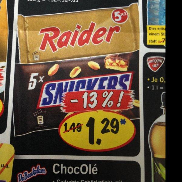 [Lidl] 5er RAIDER Snickers Mars 1,29€