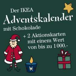 ikea adventskalender mit 275g halloren kugeln und mindestens 10 aktionskarten f r 12 95. Black Bedroom Furniture Sets. Home Design Ideas