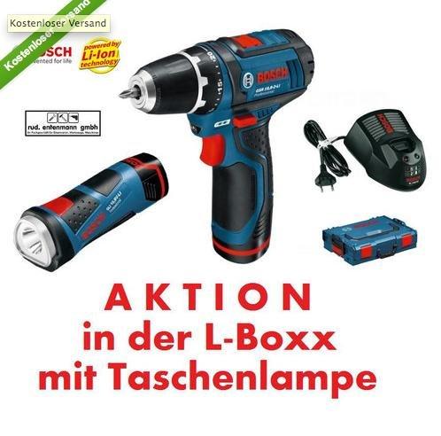 Bosch Akkuschrauber GSR 10,8-2-LI + 2 x 1.5 Ah Akku +Lampe GLI 10,8 V-LI + L-Boxx + Versand gratis