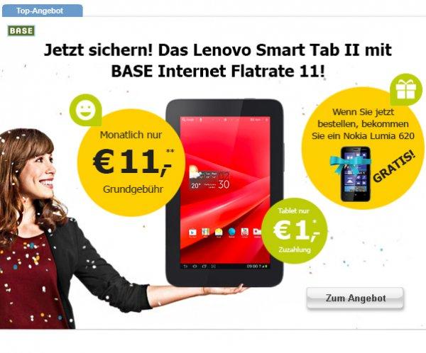 Base 500MB/Monat, Lenovo Smarttab 2 7 3G, Lumia 620