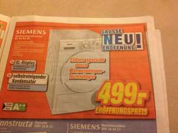Lokal Leipzig Rückmarsdorf Expert Neueröffnung - Siemens Wärmepumpentrockne WT44W3D2 A++ für 499€