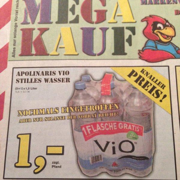 [Lokal? MEGA KAUF] Apolinaris VIO 6x1,5L für 1€
