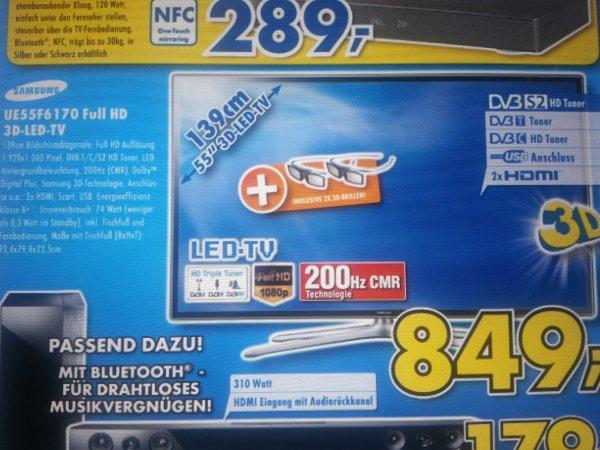 Samsung UE55F6170 full hd 3D-FullHD-LED-TV für 849€ @ Euronics Elsässer sindelfingen
