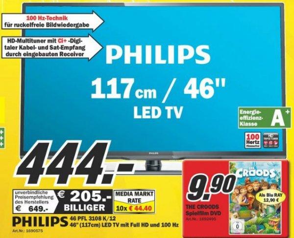 [LOKAL MM Rhein-Neckar] Philips 46PFL3108K/12 117 cm (46 Zoll) LED-Backlight-Fernseher, EEK A+ (Full HD, 100Hz PMR, DVB-T/C/S2, CI+) schwarz für 444 €